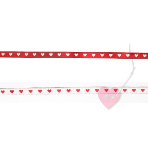 farbenmix schmales Webband Herzchen rot-weiß 7mm - beidseitig verwendbar