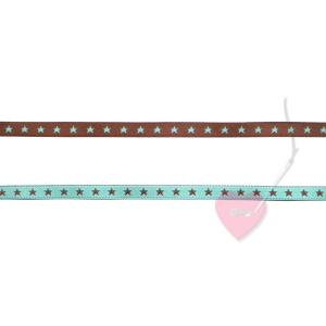 farbenmix Webband Sternchen schokobraun-helltürkis 7mm beidseitig