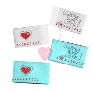 farbenmix Webetikett Crafting with LOVE 4er Set Labels (Farbe: Silberfarben)