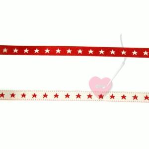 farbenmix schmales Webband Sternchen rot-weiß 7mm beidseitig