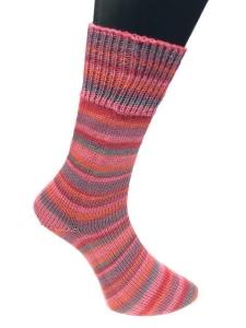 Lungauer Sockenwolle 4-fach- Sockengarn ringelnd (Farbe: Pink-Rot-Grau)