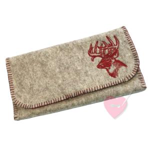 Geräumiger Geldbeutel aus naturgrauem Wollfilz mit aufgesticktem Hirschkopf
