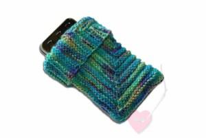 Handgestrickte Handy- oder MP3-Player-Socke Im Quadrat