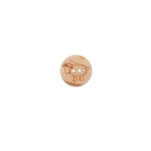 runder Holzknopf Ø15mm - 2-Loch Holzknopf mit Schäfchen