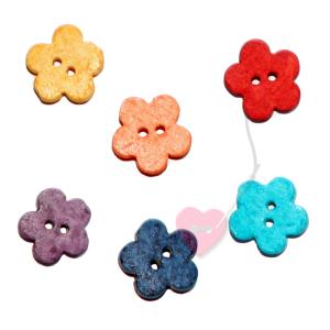 Jim Knopf - Keramik-Blume - 2-Loch Blütenknopf 16mm (farbe: flieder)