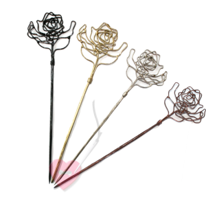 Jim Knopf - kunstvolle Draht-Schalnadel Rose (Farbe: schwarz)