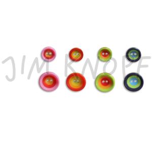 Jim Knopf - 2-Loch-Knopf Bunte Kreise in schönen Farben und zwei Größen (Größe und Farbe: 12mm - blau-grün-hellblau)