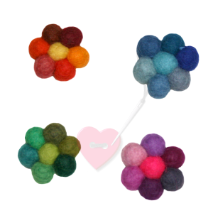 Jim Knopf - Filzblume multicolor ø32mm - bunte Filzblüte (Farbe: rot)