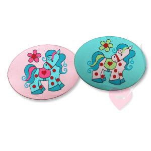 Janeas World Aufnähbild Pony Lou - Webetikett zum aufnähen (Farbe: rosa)