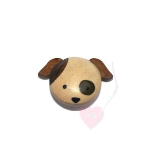Jim Knopf - Hundekopf-Knopf Ø20mm- Hundekopf aus Holz mit Öse
