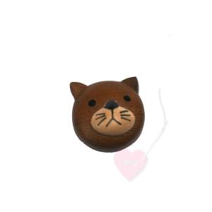 Jim Knopf - Katzenkopf-Knopf ø19mm- Kätzchenkopf dunkel aus Holz mit Öse