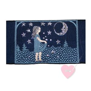 Jacquard - Webetikett Sterntaler mit glitzerndem Nachthimmel (Farbe: dunkelblau-silber)