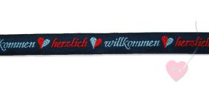 Jacquard - Webband Herzlich Willkommen 15mm