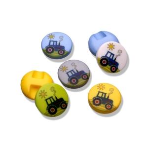 Kunststoffknopf Traktor 15mm mit Öse (Farbe: weiß)