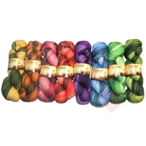 Ferner Wolle Lace 500 handgefärbt - mit langem Farbverlauf (Farbe: Orangetöne)