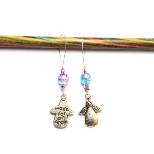 Handgefertigte Maschenmarkierer  Made for an Angel lilablau