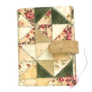 Handgenähte Notiz- und Tagebuchhülle Patchwork mit Din A6 Notizbuch
