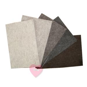 Wollfilz aus 100% Wolle 1mm in 10 Naturtönen in 20x30cm Platten (Farbe: wollweiß meliert)