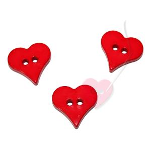 Herzchenknopf 18mm - 2-Loch Knopf glänzend (Farbe: rot (12))