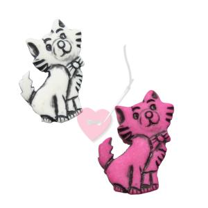 Kätzchenknopf 23mm - Katzen-Knopf mit Öse matt (Farbe: pink (14))