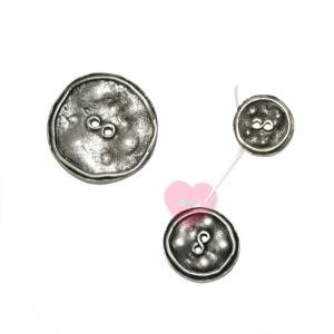 Metallknopf in Antik-Optik -  2-Loch-Knopf, rustikal (Größe: Klein)