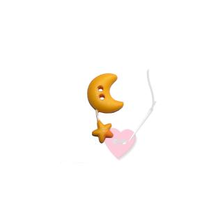 Mond mit Sternchen - 2-Loch Knopf mit Wackelsternchen (Farbe: gelb)