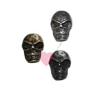 Schmuckknopf Skull - Metall-Knopf mit Öse im Totenkopf-Design (Farbe: altmessing)