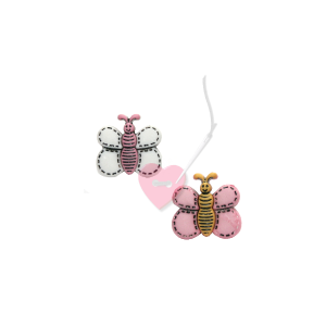 Süßer Schmetterling - Schmetterlingsknopf mit Öse 18mm (Farbe: rosa-gelb)