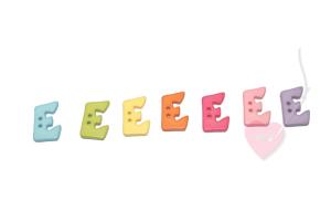 Buchstabenhits für Kids 18mm - 2-Loch Knopf E (Farbe: grün)