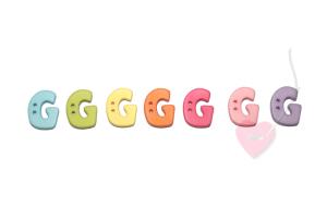 Buchstabenhits für Kids 18mm - 2-Loch Knopf G (Farbe: grün)