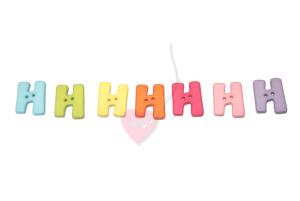 Buchstabenhits für Kids 18mm - 2-Loch Knopf H (Farbe: grün)