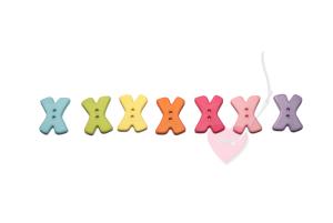 Buchstabenhits für Kids 18mm - 2-Loch Knopf X (Farbe: grün)