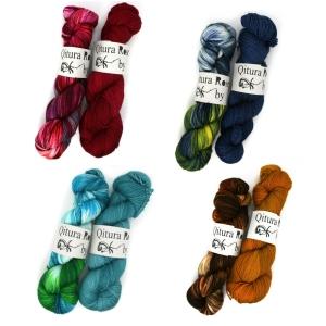 Qitura Rose Fine Merino Socks handgefärbt - Götter Sets (Farbe: Neptun)