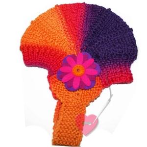 Baby-Mütze aus reiner Merinowolle mit Filz-Blüte ab ca. 12 Monate