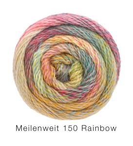 Lana Grossa Meilenweit 150 6fach  Rainbow (Farbe: 111 Braunrot/Mint/Gelb/Petrol/Pink/Rot/Blau)