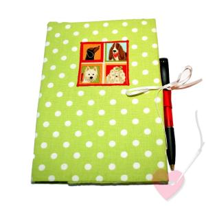 Handgenähte Notiz- und Tagebuchhülle Woof - Notizbuch in A5