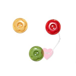 Schöner Blumenknopf 15mm - 2-Loch-Knopf (Farbe: rot)