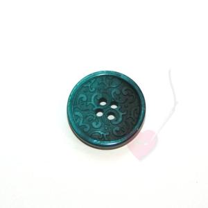 Kunststoff-Knopf Ornament 23mm (Farbe: petrolgrün (52))