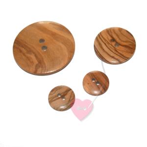 2-Loch Holzknopf glatt, rund - in 3 Größen erhältlich (Größe: 15mm)