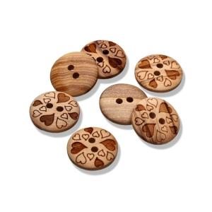 runder Holzknopf ø15mm - 2-Loch Holzknopf mit Herzen
