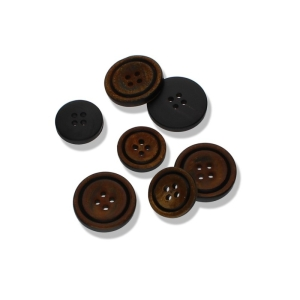 Büffelhorn - klassisch, runder 2-Loch-Knopf  aus Horn (Größe: 23mm)