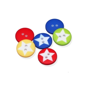 Kunststoffknopf Star 15mm - 2-Loch-Knopf mit Stern (Farbe: rot)