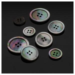 Perlmuttknopf rund, dunkel (Größe: 15mm)