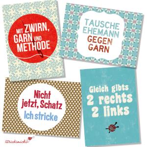 strickimicki - Fröhlich, freche Postkarten rund ums Stricken & Häkeln (Spruch: Tausche Ehemann gegen Garn)