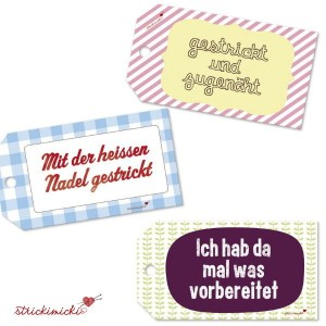 strickimicki - Geschenkanhänger für (handgearbeitete) Geschenke mit fröhlichen Texten (Spruch: Gestrickt und zugenäht)