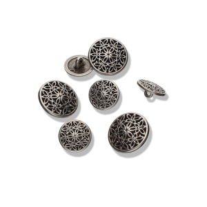 Floraler Metallknopf Ornament mit Öse (Größe: 20mm)