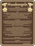 Blechschild mit Spruch: Hunderegeln! Geprägtes, bedrucktes Blech Schild, FUN