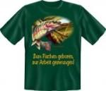 T-Shirt zum Fischen geboren Fun Shirt Sprüche Angler angeln (Größe:: S (42/44))