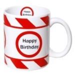 Tasse Happy Birthday Kaffebecher Geburtstag rot weiß Warnband