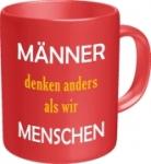 Tasse mit Fun Spruch: MÄNNER DENKEN ANDERS! witzige Kaffeetasse / Becher im Geschenkkarton, Kaffeepott